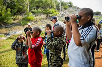 Boys with binoculars.